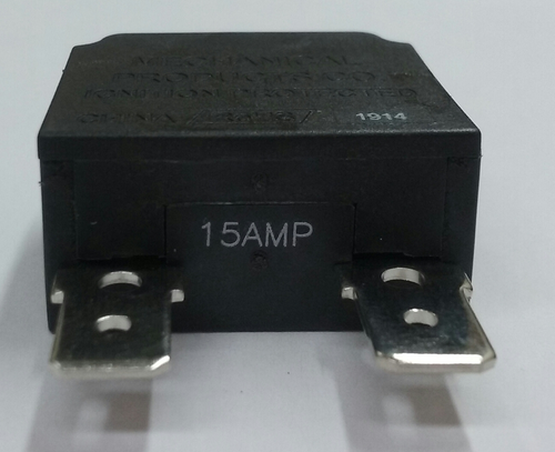 mechanical products 15 amp push to reset circuit breaker, black button, quick connect terminals, 1480-303-150