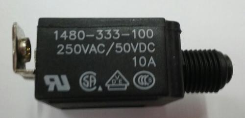 1480-333-100-G1  Push to reset circuit breaker, 10 amp, black button, bent screw terminals
