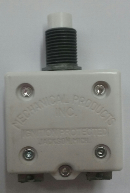 "mechanical products, 15 amp, push to reset, circuit breaker, 7/16"" bushing, screw terminals bent 90 degrees 1600-082-150"