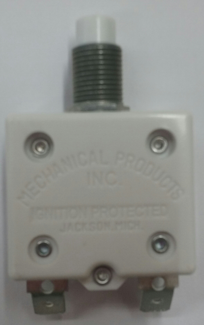 "mechanical products, 18 amp, push to reset, circuit breaker, 7/16"" bushing, quick connect terminals bent 45 degrees 1600-195-180"