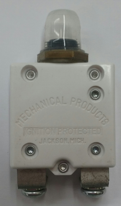 """Mechanical Products, 40 Amp Circuit Breaker, Push to Reset, #10-32 screw terminals, bent 90 degrees, 15/32-32"""" bushing (short 0.297 length), amp stamp, protective boot, 1648-088-040"""