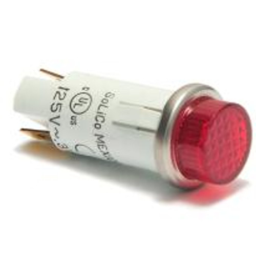 indicator light, 125 volt neon, quick connects, red cylinder diamond lens, 3050-3-11-38310