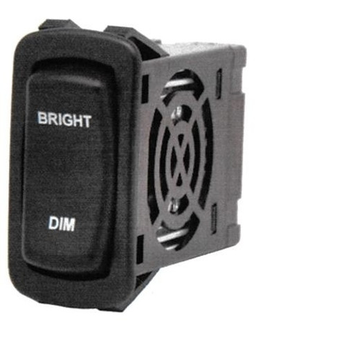 """L Series Rocker Electronic Dimmer Switch, Black with (2) 12 volt Red LEDs, """"Bright-Dim"""" laser etched on Actuator, Carling LD3A1CC1-3AAFE-1FC"""