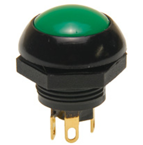 P9-113125 Otto Flush Green Push Button Switch, Momentary, Two Circuit