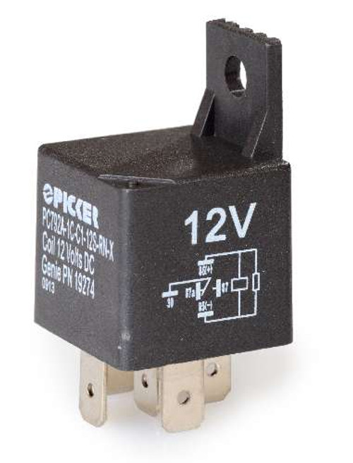 PC792A-1C-C1-12S-RN-X 40 Amp Auto Style Relay with resistor and bracket
