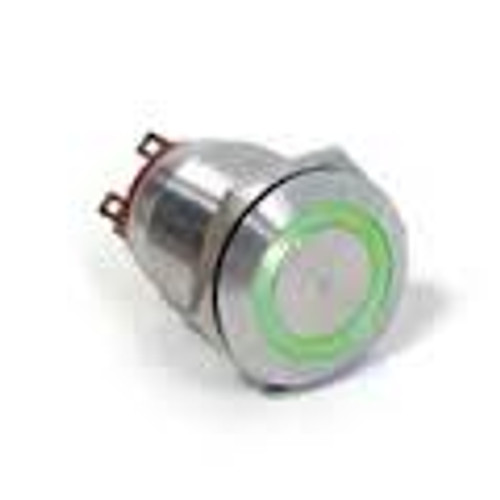 E switch Anti Vandal 25 mm push button, illuminated green ring push button, single pole