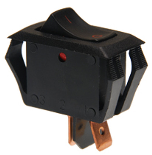 Carling appliance style rocker switch, single pole, on off, maintained, I-O legend, black and red, RA901-VB-B-9-V