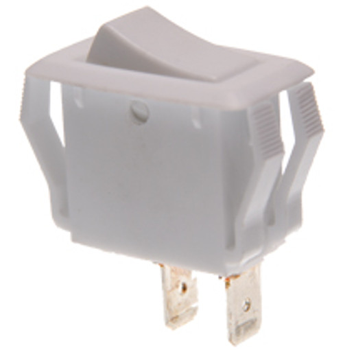appliance size white rocker switch, single pole, momentary, spring return to off position, quick connects