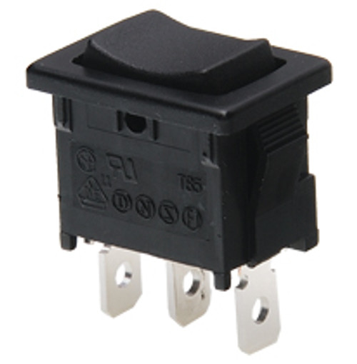 miniature rocker switch, momentary, spring return to center, quick connects, single pole