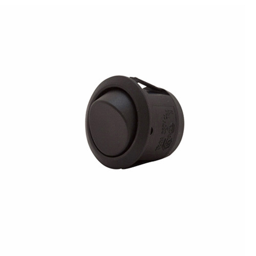 round rocker, spst, on-off, quick connect, push on terminals, black