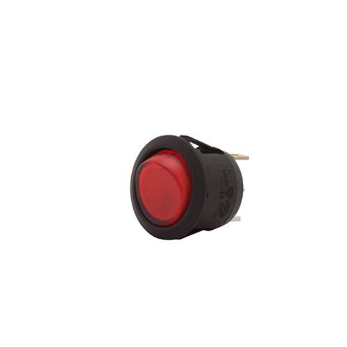 SPRR85/120R Round Rocker, Fully Illuminated Red, 120 volt, On-Off, Single Pole
