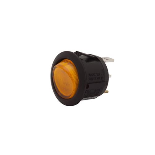 SPRR85/12A Round Rocker, Fully Illuminated Amber, On-Off, Single Pole