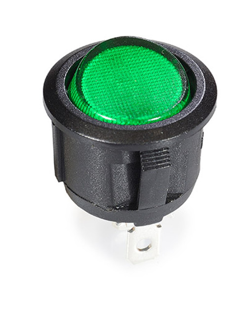 round rocker, on off, fully illuminated, green lit rocker, single pole