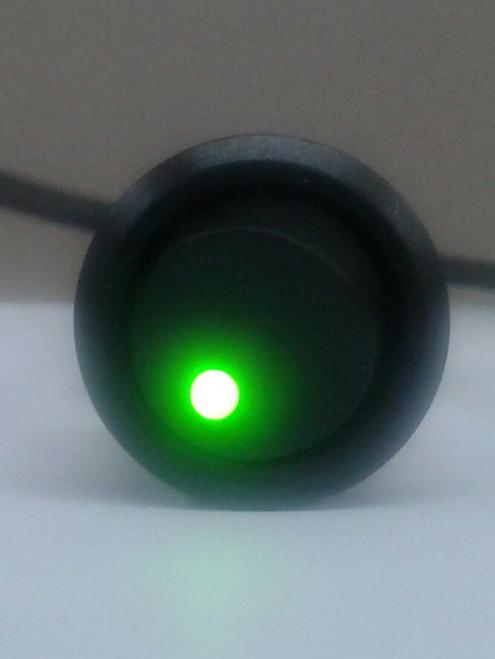 Single pole On-Off Black round Rocker, Green Dot LED, 187 tabs,