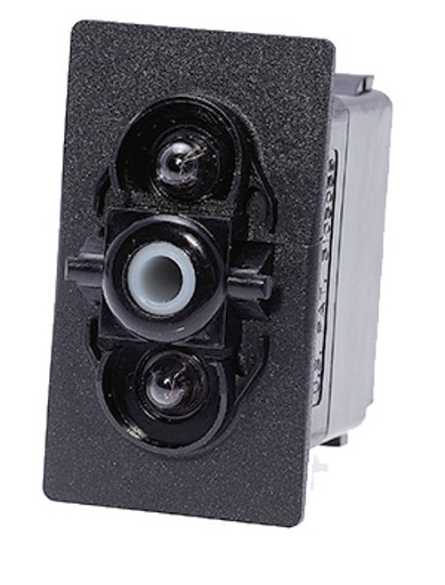 Carling rocker switch, double pole, double momentary, spring return to off position, V Series, 1 dep lamp & 1 ind lamp, VLD1G66B