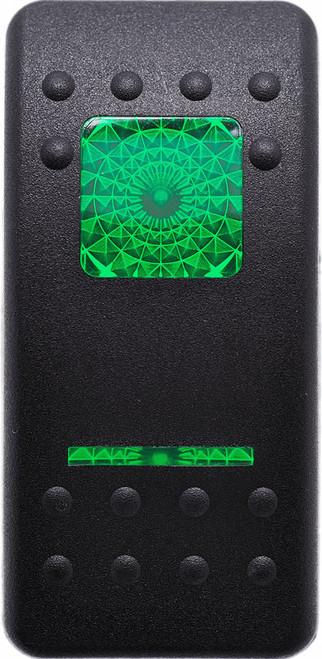 Carling, V series, actuator, switch cap, hard black, 1 green square lens, 1 green bar lens, VVALC00-000, Contura 2
