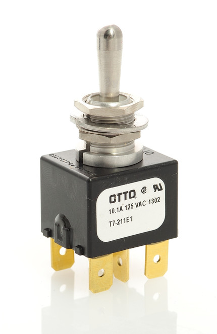 T7-211E1 Otto Double Momentary Toggle Switch, Spring return to center off position