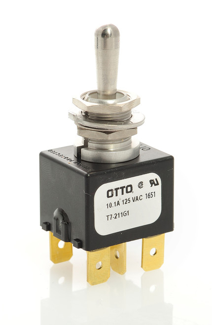 T7-211G1 Otto On-Off-Momentary On Toggle Switch, spade terminals