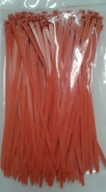 Self Locking Nylon Cable Tie. Orange.