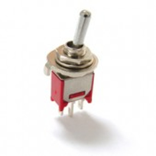 Sub miniature toggle switch, on off on, single pole, right angle pc pins, gold plated sealed terminals 200MSP3T1B1M6REH