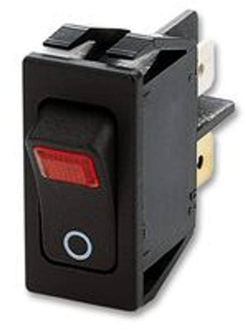 Illuminated Inrush Rocker Switch, Marquardt, Red lamp, on off, 1555.3102, TBP60137