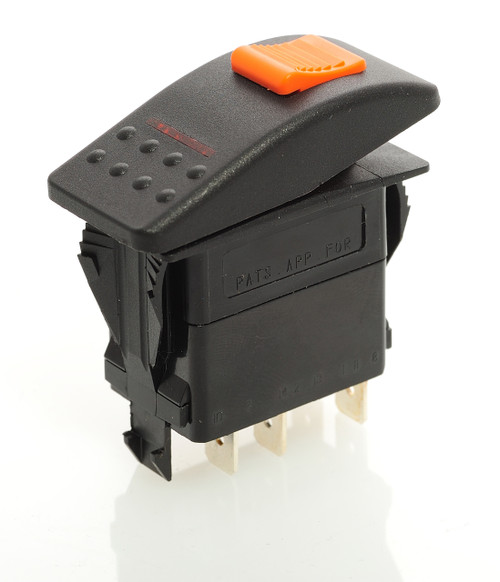 Locking Rocker switch, Carling, V Series, single pole, on off, independent lamp, amber lens, lock on actuator, full switch and cap, protects from accidentally turning it on, V1D2HW6B-ADE
