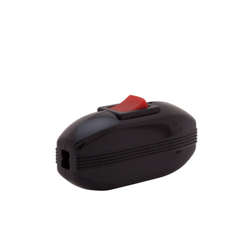In line lamp cord switch, on off, heat resistant, black body, red rocker, great fro any application that needs a replacement or new in line switch on the cord