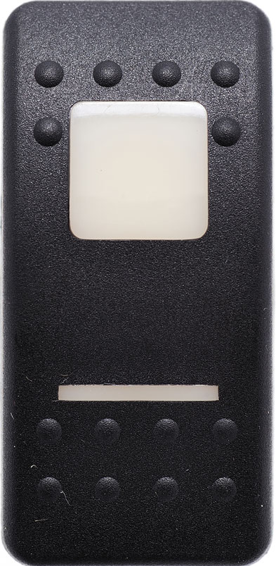 carling, v series, switch cap, actuator, contura II, VVAAB00-000, soft black, 1 white bar lens, 1 white square lens