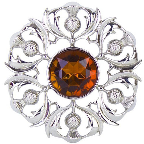 Scottish Thistle Plaid Brooch with Centre Stone