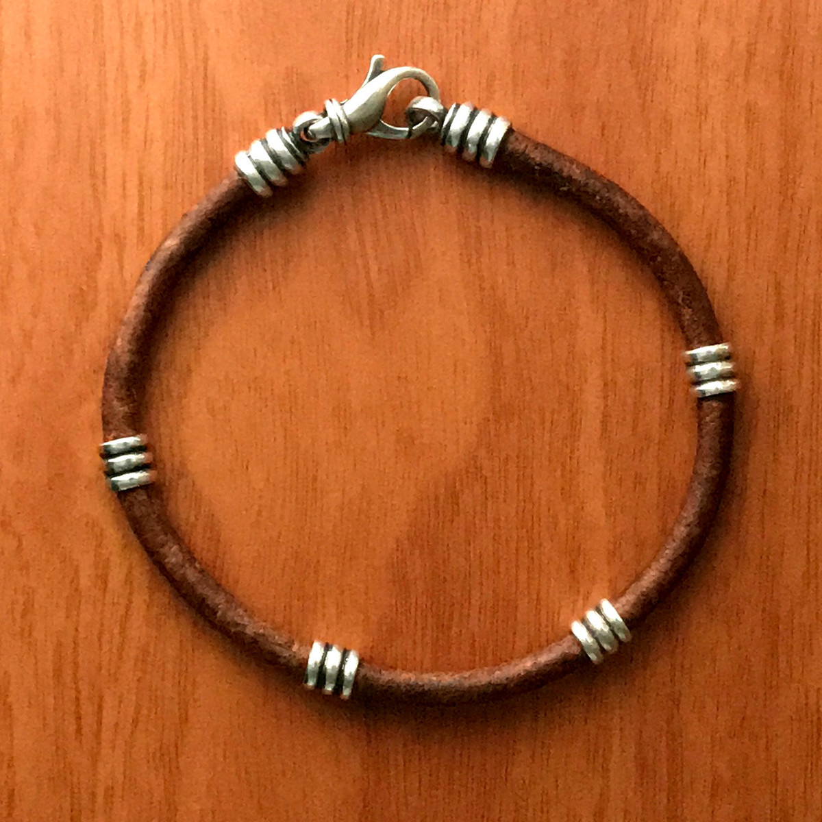 Lovely Natural Leather and Sterling Silver Bracelet by Bowman Originals JI81