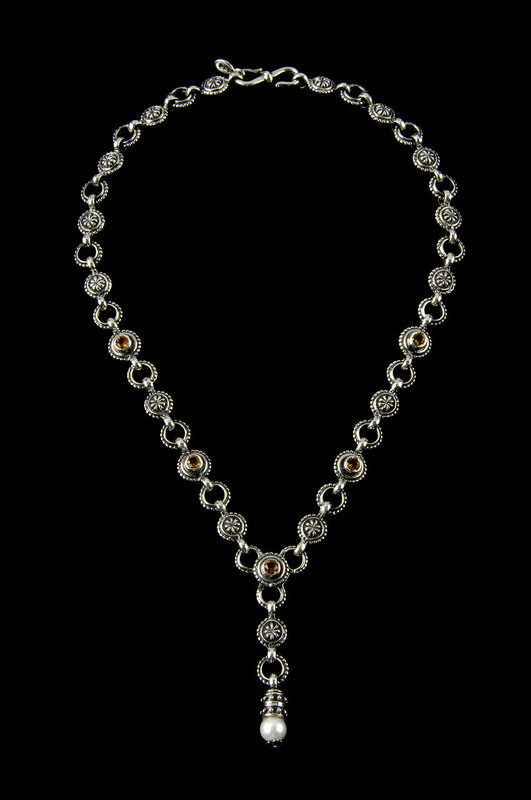 """""""Y"""" Necklace handmade Sterling Silver link necklace with Citrine and Pearl by Bowman Originals, Sarasota, 941-302-9594"""