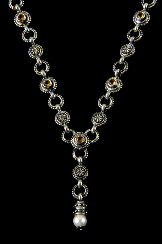 """""""Y"""" Necklace handmade in Sterling Silver with Citrine  and Pearl by Bowman Originals, Sarasota, 941-302-9594"""