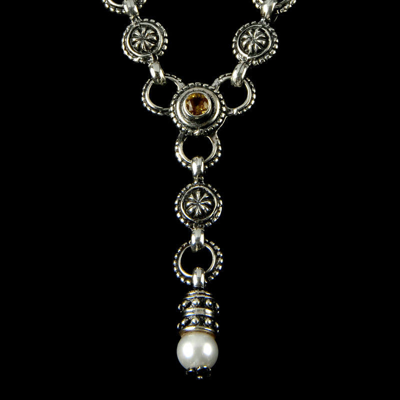"""Y"" Necklace details with Citrine and Pearl in a Silver link necklace by Bowman Originals, Sarasota, 941-302-9594"