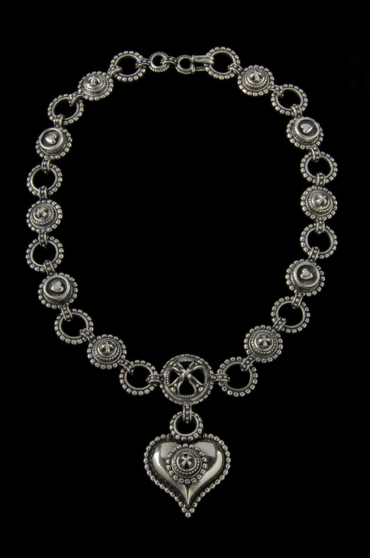 "Handmade Sterling Silver link ""Chili""Necklace by Bowman originals, Sarasota, 941-302-9594"