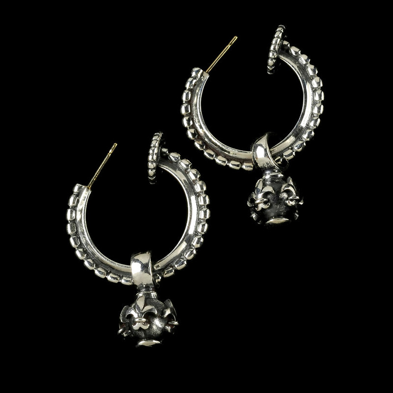 Hoop Earrings with Fleur de Lis Globes in handmade Sterling Silver by Bowman Originals, USA