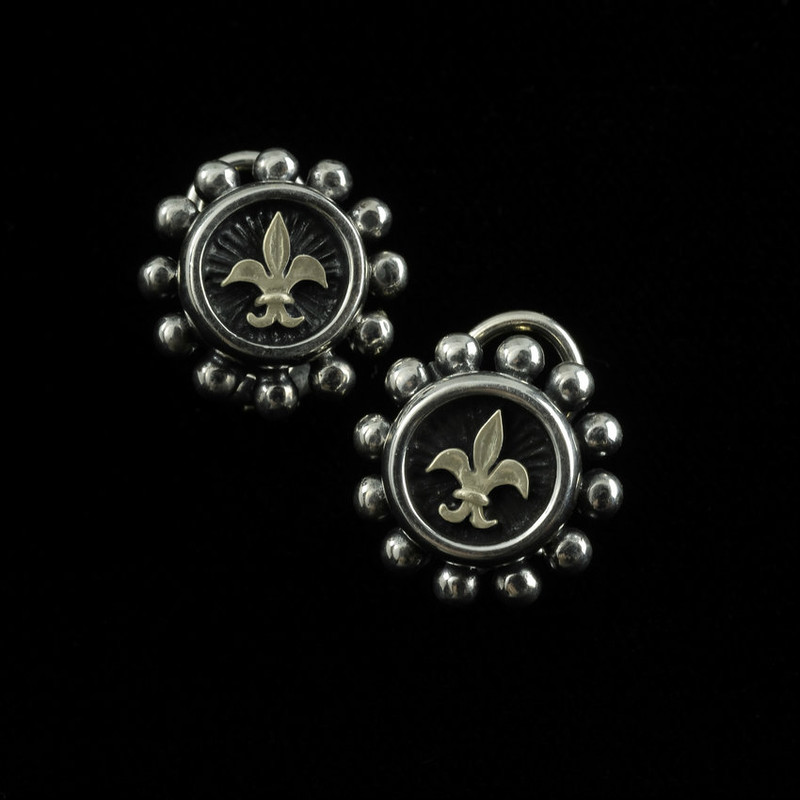 Fleuir de lis Earring in Sterling Silver and 18 k Gold by Bowman Originals, USA