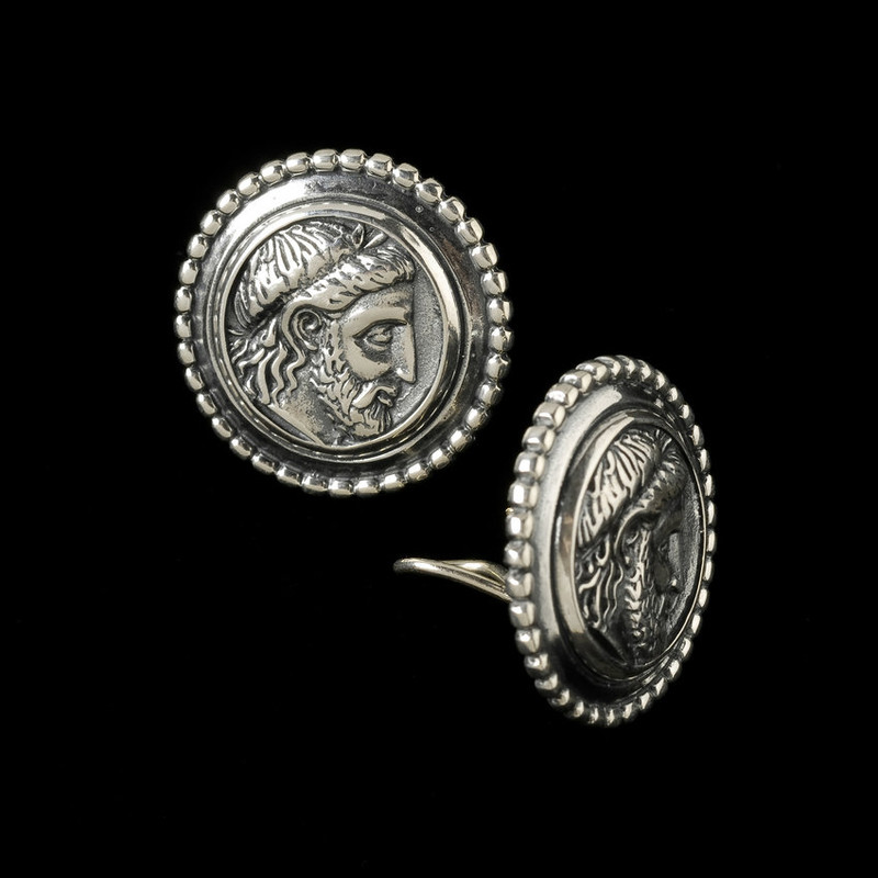 King Philip of Macedonia Earring, Sterling Silver, 14 k Gold post and omega backs by Bowman Originals, Sarasota, 941-302-9594.