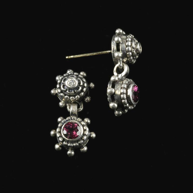 Drop Earrings, Silver, Diamond, Rhodolite Garnet handmade by Bowman Originals, Sarasota, 941-302-9594