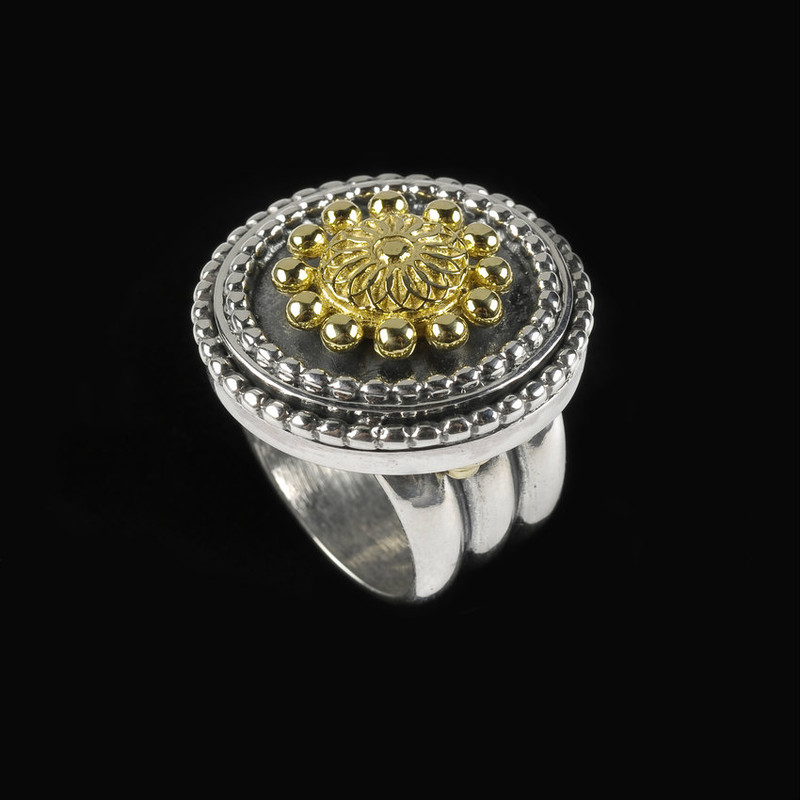 Sundial Ring handmade in Silver and Gold by Bowman Originals, Sarasota, 941-302-9594
