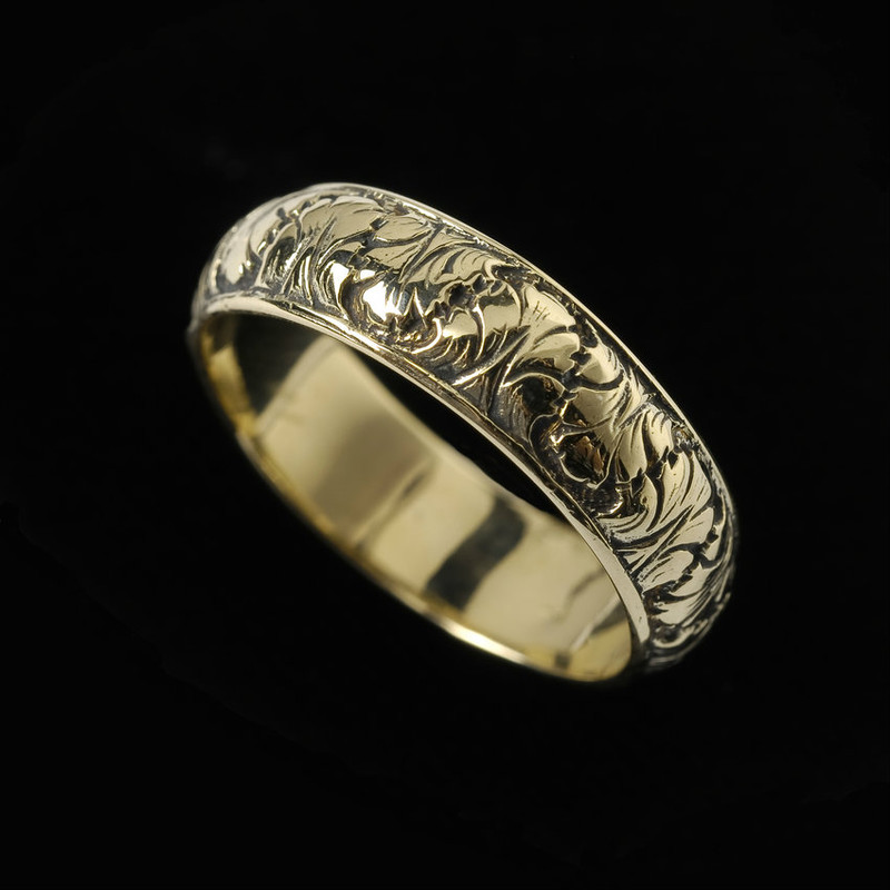 Fig Leaf Wedding Ring Band engraved in 18 k Gold handmade by Bowman Originals, Sarasota, 941-302-9594
