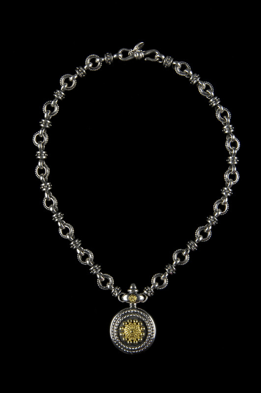 Sundial Necklace in Silver beaded links with 18 k Gold accents by Bowman Originals, USA