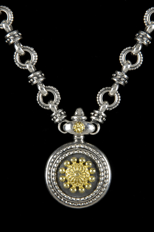 Sundial Necklace in Silver and Gold by Bowman Originals, USA