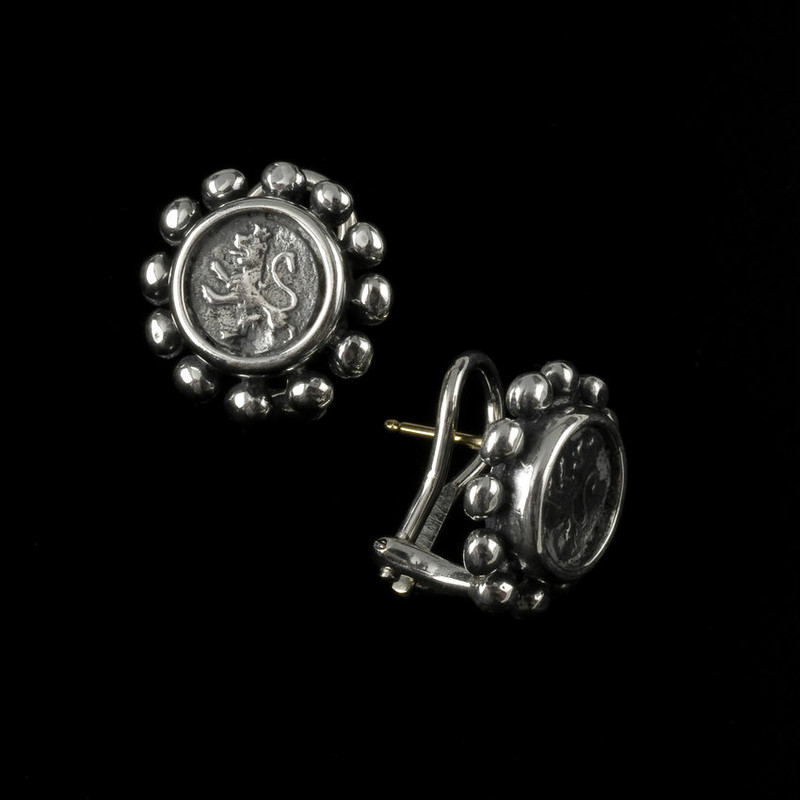 Rampant Lion Earrings in sterling silver custom handmade by Bowman Originals, USA