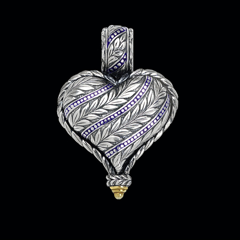 Heart Pendant, handmade, engraved  Sterling Silver, 18 k Gold, Enamel by Bowman Originals, Sarasota, 941-302-9594.