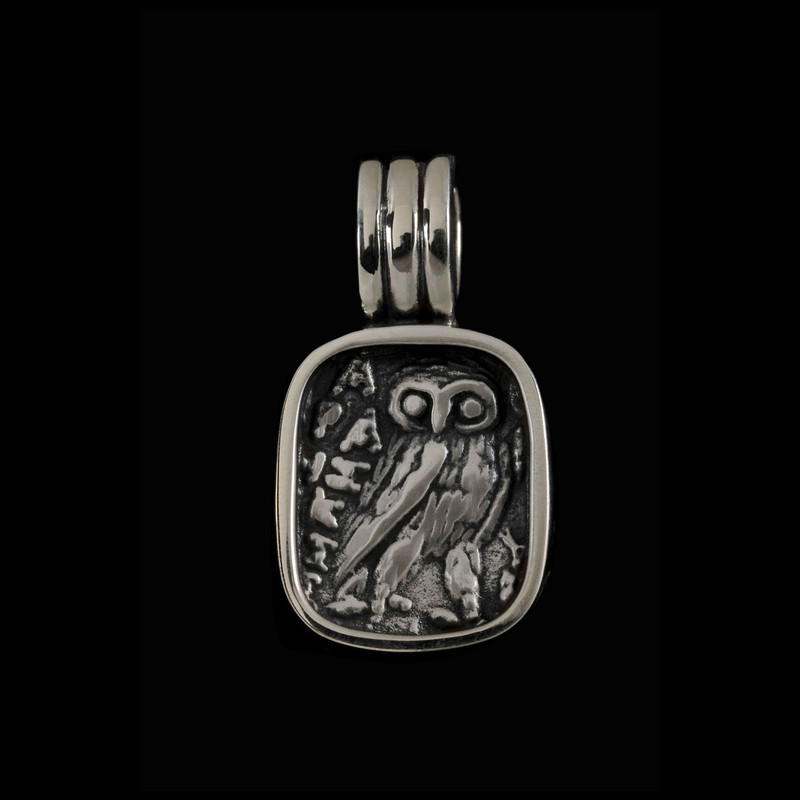 Athena Owl pendant in Sterling Silver by Bowman Originals, Sarasota, 941-302-9594.