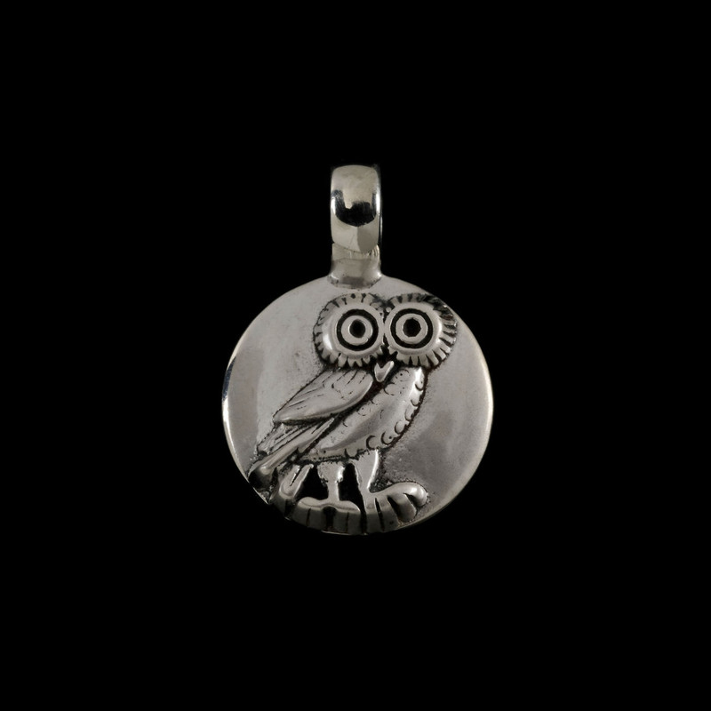 Owl Pendant handmade in Sterling Silver by Bowman Originals, Sarasota, 941-302-9594