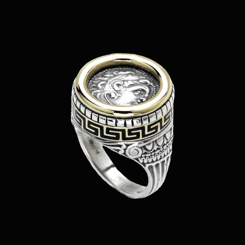 Alexander the Great Ring, Sterling Silver, 18 k Gold, Enamel by Bowman Originals, Sarasota, 941-302-9594