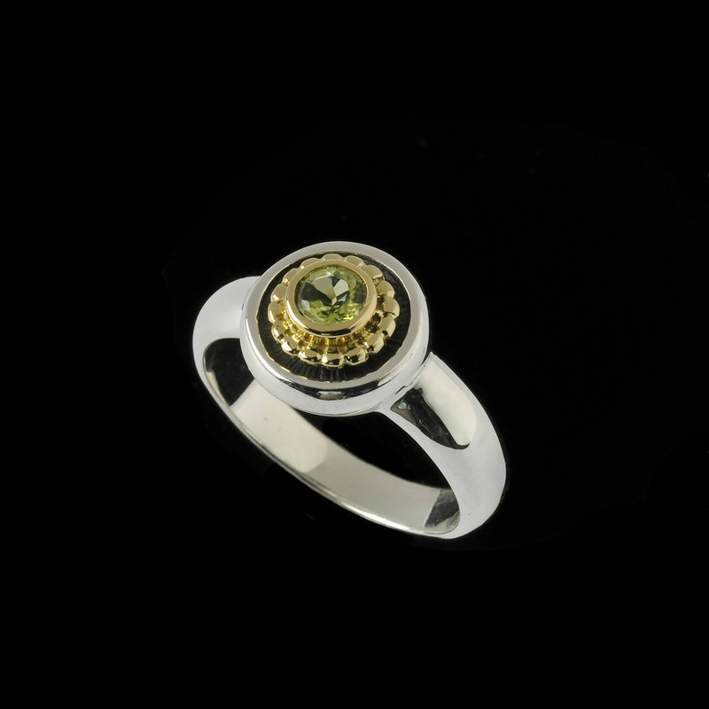 Peridot Ring in Silver and Gold custom personalized by Bowman Originals, USA.