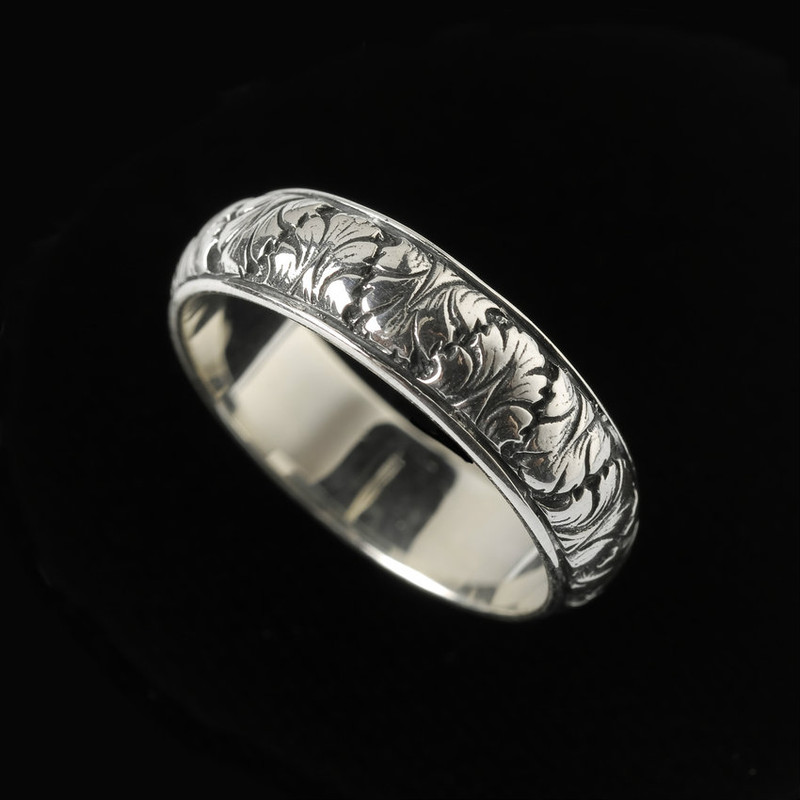 Handmade and engraved Fig Leaf Wedding Ring Band by Bowman Originals, Sarasota, 941-302-9594