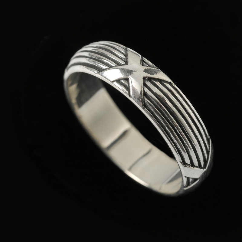 Handmade engraved Sterling Silver Harvest Wedding Ring Band | Bowman Originals, 941-302-9594